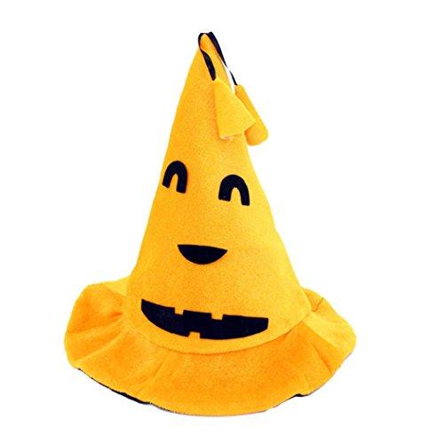 Halloween Hat for Adults, Paymenow Cosplay Pumpkin Hat Motifs Lint Top Orange Hats (D) (Motif D'halloween)