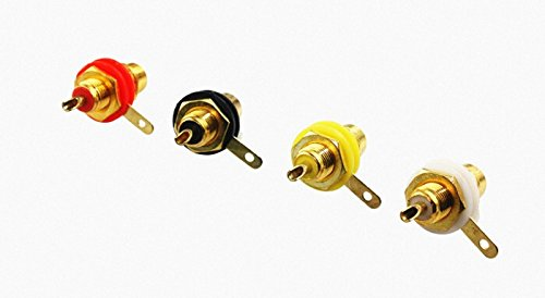 Plated Rca Panel Mount Jack (40PCS Gold Plated RCA Jack Panel Mount Chassis Socket connector)