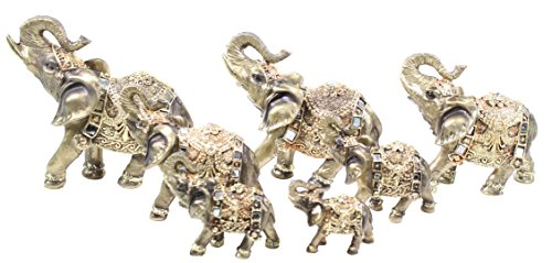 Feng Shui Set of 7 Bronze Elephant Family Statues Figurines Gift Home Decor