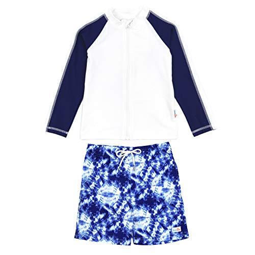 Boys Long Sleeve Tie Dye - SwimZip Boys UPF 50+ Long Sleeve Rash Guard and Swim Trunk Swimsuit Set | Tie Dye - 4T