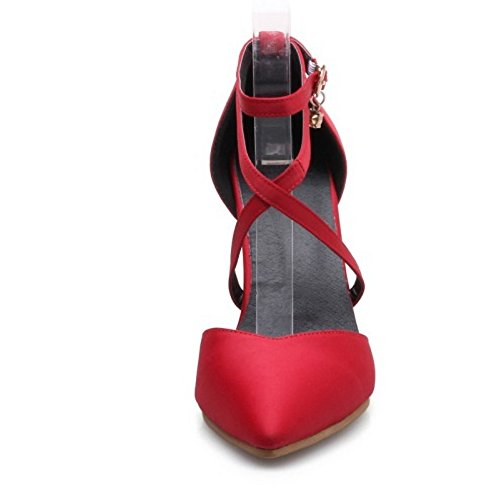 COOLCEPT Mujer Moda Correa de Tobillo Sandalias Tacon de Aguja Cerrado Criss Zapatos Red