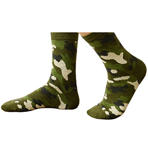 Camo Coll Men's Outdoor Camouflage Winter Cotton Socks (One Size, Green)