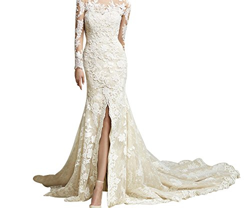 LiCheng Bridal Long Sleeves Illusion Sweetheart Mermaid Lace Wedding Dress Bridal Gowns With Sweep Champagne US12 (Champagne Lace Bridal Shop)