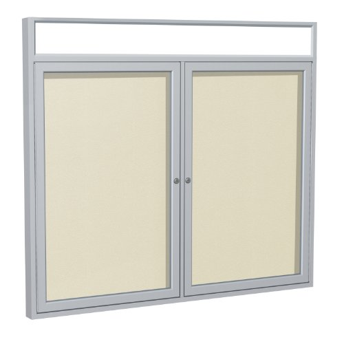 Ghent Headliner - Ghent 3 x 4 Inches Outdoor Satin Frame Enclosed Vinyl Bulletin Board with Headliner , Ivory , Made in the USA