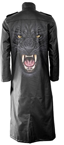 Spiral - Mens - Tribal Panther - Gothic Trench Coat PU-Leather with Full Zip - L