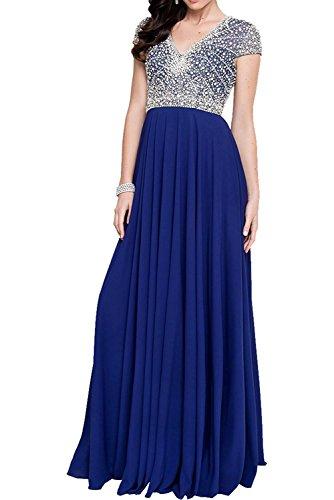 Rock Marie Abendkleider Lang Blau Chiffon Abschlussballkleider La Jugendweihe Royal Braut Damen Festlich Kleider gqq8p