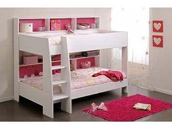 Vente unique lits superposés lenny cm etagères fond