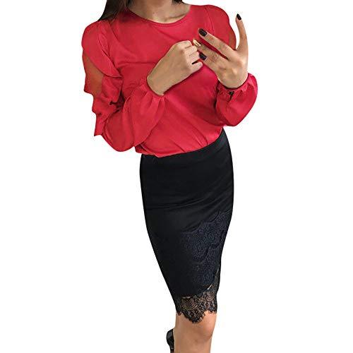 Tops Blouse Col Longues Business lgante Tunique Femmes Classique Manches Chemisier Dnude Affaires paule Rouge Rond POachers fSTBqPwW