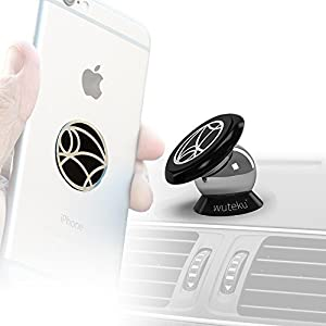 Wuteku Magnetic Cell Phone Holder Kit For Car | Works on All Vehicles, Phones & Tablets | Best UltraSlim Dashboard Mount | iPhone X, 8, 7 & Galaxy S9, S8 & more | Top Rated by Uber & Lyft Drivers