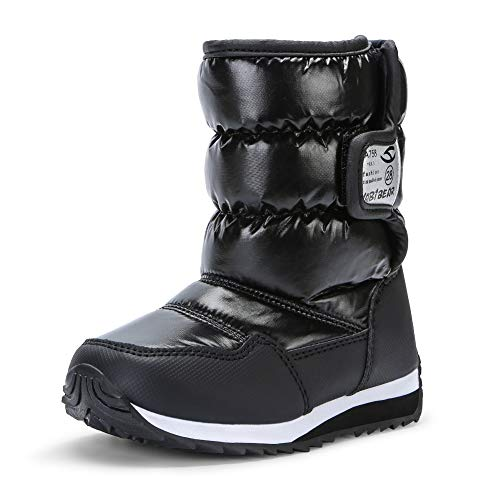 VECJUNIA Kids Snow Boots Boys Anti-Slip Faux Fur Lined Warm Outdoor Shoes (Toddler/Little Kid/Big Kid) Black