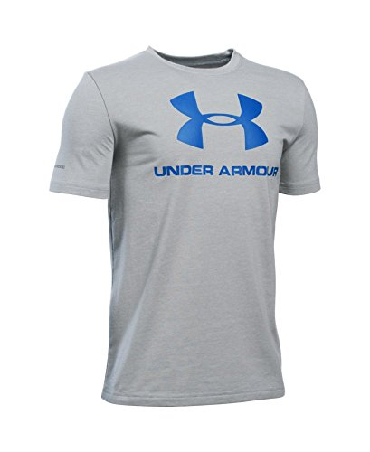 Under Armour Boys' Sportstyle Logo T-Shirt, True Gray Heather/Ultra Blue, Youth Large