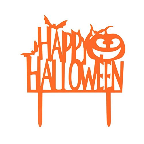 Happy Halloween With Pumpkin And Bats Sign Acrylic Cake Topper for Halloween Party Decorations