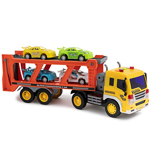 Toy To Enjoy Car Carrier Truck with Light & Sound Effects - Vehicle Transporter Trailer - Friction Powered Wheels & Four Removable Cars - Heavy Duty Plastic Vehicle Toy for Kids & Children ()