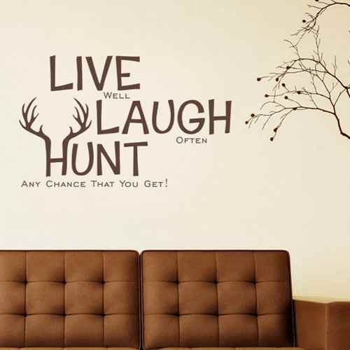 Diggoo Live Laugh Hunt Elk Antlers Wall Decal Vinyl Wall Art Home Decor Hunting Decor(Black,xs)