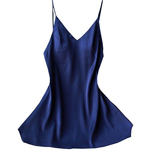 bleu grand PPOJAS Nouveau Design Femmes V-cou Mini Chemises de Nuit et Chemises de Nuit Jeune Fille Slip de Nuit Pour Jeune Fille Chaude