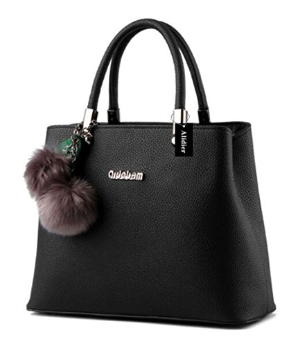 2fd691361fa3 Alidier New Brand and High Quality Fashion Women Top Handle Satchel Handbags  Tote Purse Black