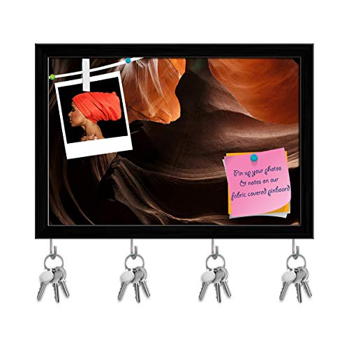 k in Antelope Valley Canyon Arizona, USA Key Holder Hooks Cum Bulletin Notice Pin Board Cum Black Framed Painting 11.5 X 8Inch ()
