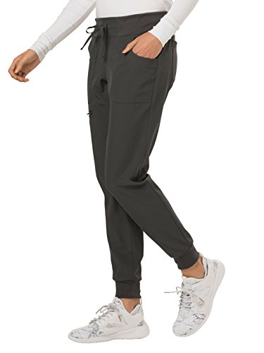 HeartSoul Break On Through Women's The Jogger Low Rise Tapered Leg Scrub Pant X-Small Petite Pewter