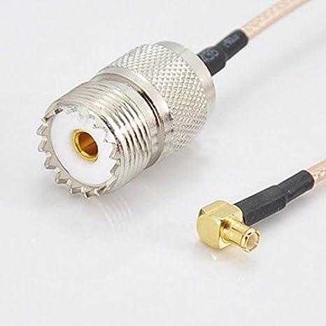 Hrph Cable coaxial RF UHF DHT Electrónica SO239 PL259 hembra a MCX Conector de ángulo recto masculino RG316 los 20CM: Amazon.es: Electrónica
