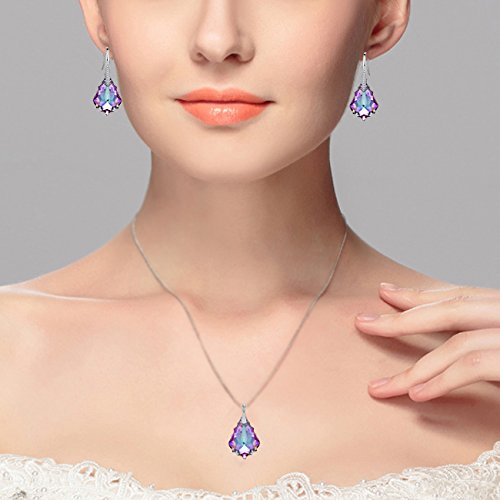 EleQueen 925 Sterling Silver CZ Baroque Drop Pendant Necklace Dangle Earrings Set Made with Swarovski Crystals