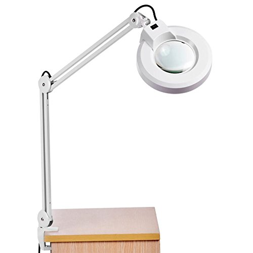 Miuniu Magnifier Lamp 8X Desk Table Clamp Mount Swing Arm Lighted Light Magnifying Glass Len 110V US Plug by Miuniu