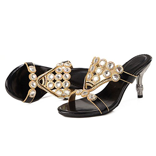 stiletto EU40 di grandi strass diamanti Hollow donna sandali tacco nero sandali UK7 Moda dimensioni 76zwq00