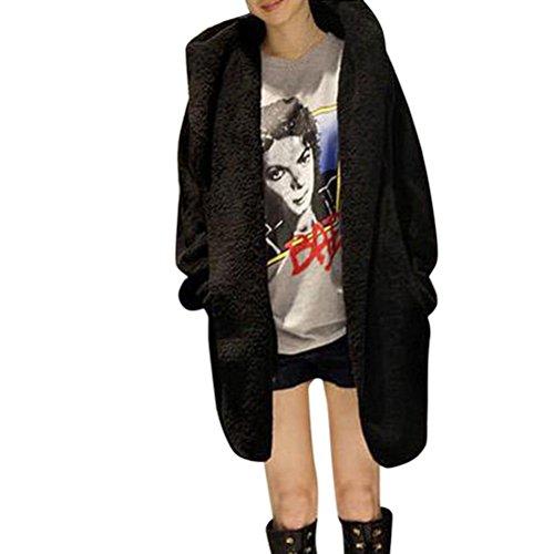Tsmile Fashion Women Coat Winter Faux Fur Top Warm Poncho Hooded Fluffy Fleece Jacket Outerwear (Free Fleece Poncho Patterns)