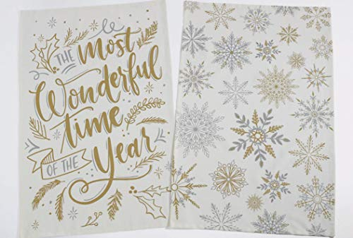 - The Most Wonderful Time The Year Dish Towels Snowflakes Set of 2