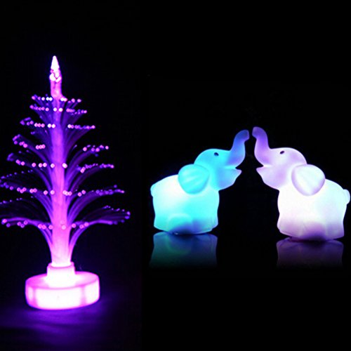 (Color Changing Elephant and Glittering Christmas Tree LED Night Light Lamp with Battery Home Party Decor for Kids Baby Nursery)