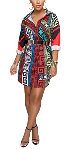 Bluewolfsea Women's Fashion Geometric Print Mini Dress 3/4 Sleeve Buttown Down Tunic Tops Casual Blouse Small Tribal