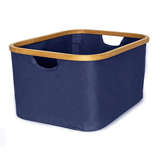 Spruced Laundry Basket Foldable Small With Handles - Portable Laundry Basket Collapsible Hamper | Canvas and Bamboo | Fabric Storage Bins for Clothes, Organization, Sorting (Blue)