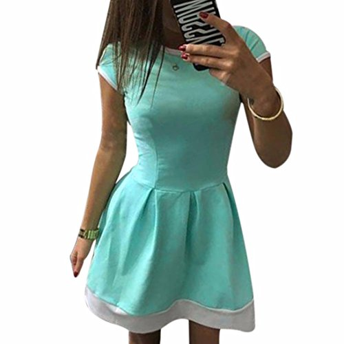 NewKelly Ladies Women Summer Casual Bodycon Evening Party Cocktail Short Dress (Green, S)