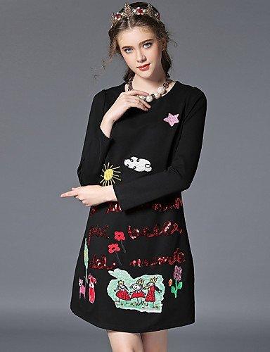 GSP-Damen Kleid - Übergrößen Übergröße / Retro / Party / Arbeit / Leger Solide Übers Knie Baumwolle / Nylon / Elasthan Rundhalsausschnitt