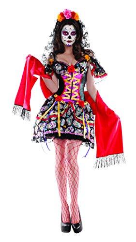Skull Dress Sexy Adult Costumes (Party King Women's La Catrina Sexy Body Shaper 3 Piece Costume, Black/Red, Medium)