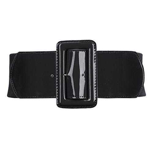 Women's Wide Patent Leather Fashion Belt (Black Patent Leather Belt)