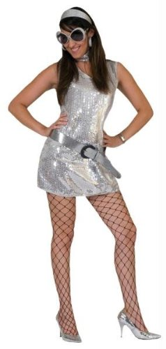 DISCO DRESS SILVER ADULT MED (Female Costumes For Comic Con)