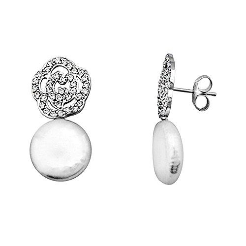 Boucled'oreille 18k blanc fleur d'or zircons perle 10-11mm pièces [AA5716]