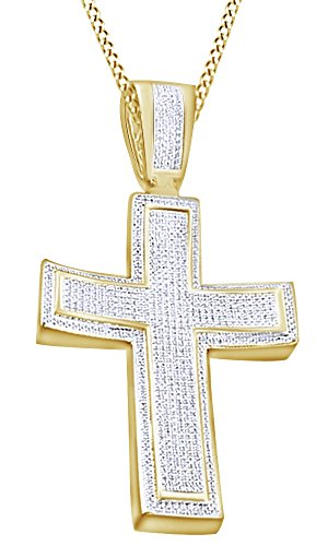 Round Cut Cubic Zirconia Cross Hip Hop Pendant in 14k Yellow Gold Over Sterling Silver (1.77 Cttw) by AFFY