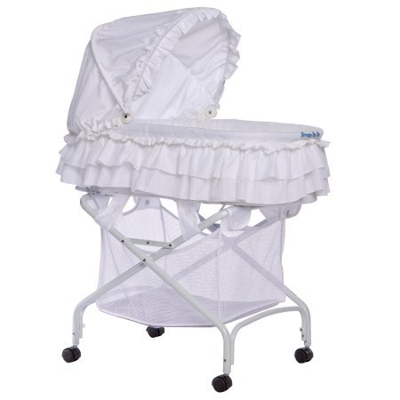Completely Portable Two in One Bassinet To Cradle, Recommended for a Newborn Up to 20 Pounds, Features Removable Canopy and a Large Storage Basket for Baby's Essentials, White + Expert Guide by eCom Rocket