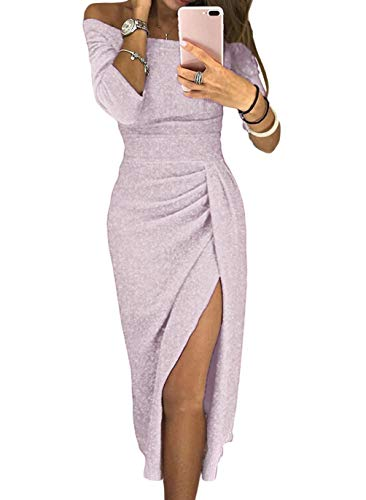 Evening Party Dresses for Women Off Shoulder High Slit Ruched Shiny Slim Purple Sexy Formal Prom Cocktail Fall Winter Large (US 12-14) Light Purple