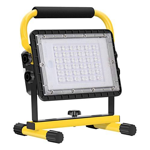 Baustrahler LED Akku, 60W 6000 Lumen LED Arbeitsleuchte Akku Strahler Tragbar Arbeitsscheinwerfer Akkukapazität 20800…