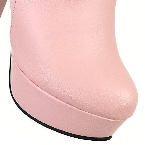 Zehe Allhqfashion Pull geschlossene Stiefeletten Heels PU Runde on Damen Pink High qPrxP4X