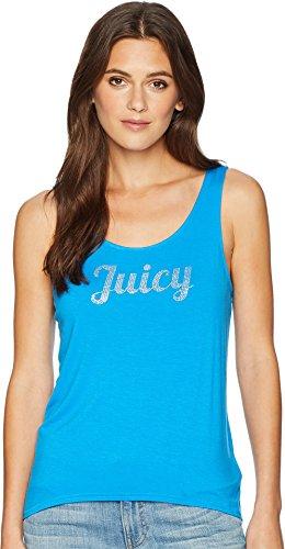 Bling Tank - Juicy Couture Women's Hi Lo Bling Tank Top Blue Aster Medium