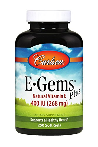 Carlson E-Gems Plus 400 IU, 100% All-Natural Vitamin E, Mixed Tocopherols, Heart Health, 250 Soft Gels by Unknown