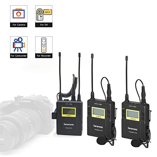 Lavalier Wireless Camera Microphone System for New Gathering Interview Vlog, Saramonic 96-Channel UHF Lapel Mic for Interview Podcast DSLR & Camcorder Video Sony RX0 YouTube Facebook ()