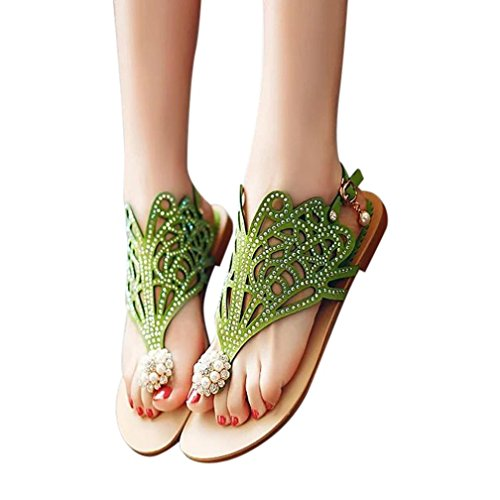 Teen Girl Rhinestone Flat Sandals Low Bottom Flip Flop Shoes Party Sandals Slippers Hemlock (US:7, Green) -