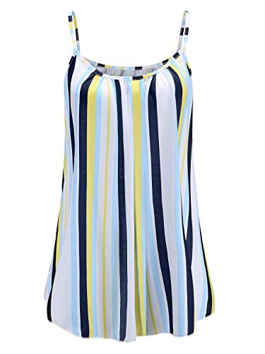 7th Element Womens Plus Size Cami Basic Camisole Tank Top (Lime Green Stripes,3XL)