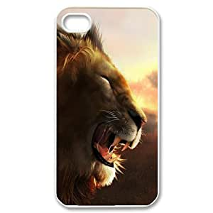 IPhone 4S Cases Angry Lion, IPhone 4S Cases Lion for Boys, [White]