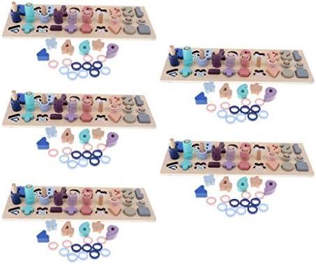 SM SunniMix ナンバーおもちゃ 木製おもちゃ マッチングブロック玩具 マッチング キッズ玩具 思考発達 玩具 5個セット