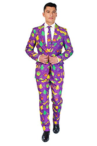 Suitmeister Mens 'Mardi Gras Purple Icons' Costume Suit and Tie, Large]()